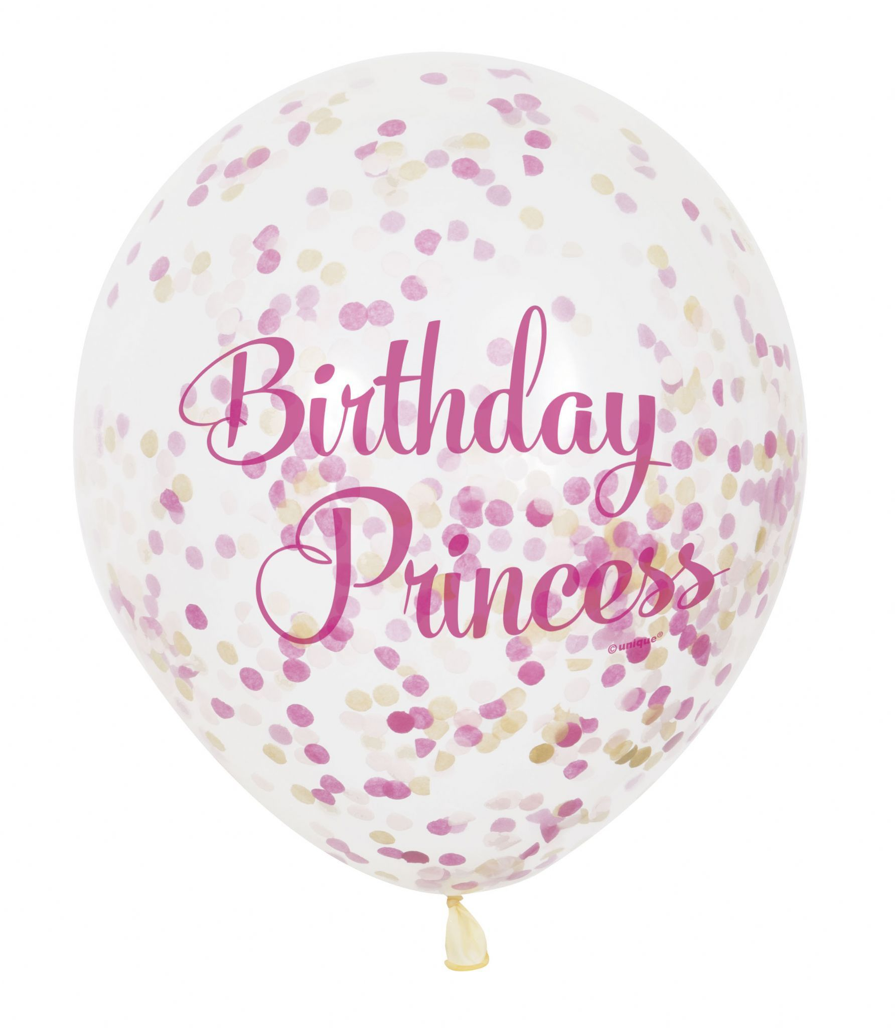 Pink Princess Happy Birthday Balloon With Confetti